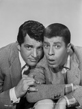 Dean Martin and Jerry Lewis Wacky Pose in Black and White