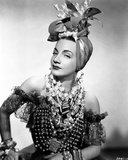 Carmen Miranda wearing a Beaded Dress with Necklaces