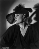 Gina Lollobrigida Side View in Black Gown with Black Hat