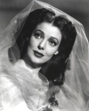 Loretta Young Lady in Wedding Dress with Long Veils