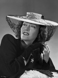 Gloria Swanson Looking Up Posed in Black Dress with Hat