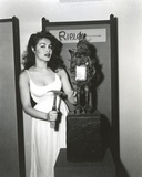 Julie Newmar Posed in White Dress Portrait Black and White