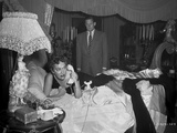 Gloria Swanson Lying on top of the Bed with Telephone