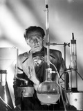 Peter Cushing Posed wearing Coat in Chemistry Laboratory