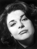 Anne Bancroft Facing Side View in Black and White Portrait