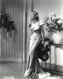 Loretta Young Shiny Satin Gown Silver  Black and White