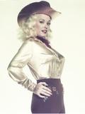 Mamie Van Doren Portrait in Silver Dress with Cowboy Hat