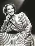 Loretta Young Stripe Dress Lady Pose with Curly Hair