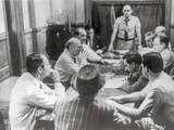 Twelve Angry Men Having a Meeting in Black and White