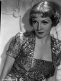 Claudette Colbert Posed in Glossy Dress with Dark lipstick