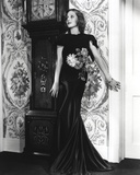 Loretta Young Black Satin Mermaid Dress with Flower Design
