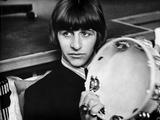 Beatles Ringo Starr Holding a Tambourine in Black Suit