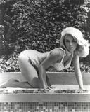 Stella Stevens Bent Over wearing Bikini in Black and White
