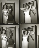 Julie Newmar in White Dress Portrait Black and White