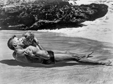 From Here To Eternity Couple Kissing Laying in Seashore