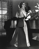 Loretta Young White Flowers  Silver and Gown Black