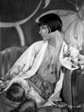 Louise Brooks Looking Away in Floral Dress Portrait