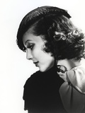Loretta Young Side View Pose Houndstooth Flat Cap