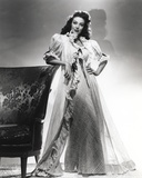 Loretta Young White Long Gown with Balloon Sleeves