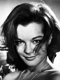 Romy Schneider smiling in Black and White Portrait
