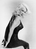 Mamie Van Doren sitting in Black Dress Portrait