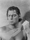 Johnny Weissmuller Holding Knife in Black and White