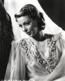 Loretta Young Crepe White Dress With Sheer Sleeves