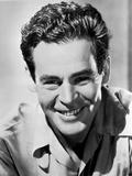 Robert Ryan smiling in Black and White Portrait