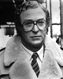 Michael Caine in White Fur Coat With Eyeglasses