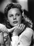 June Allyson Curly Hair Posed in White Long Sleeves
