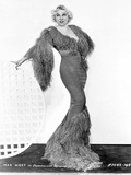 Mae West Posed in Sexy Long Gown with One Hand Open