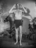 Johnny Weissmuller Shouting in Black and White