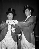 Abbott & Costello in Top Hats Removing their Gloves
