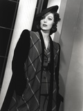 Loretta Young Long Black and Striped Coat Dress
