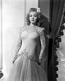 Carole Landis on Embroidered Dress and Leaning