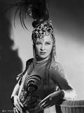 Mae West Posed in Elegant Dress with Headdress