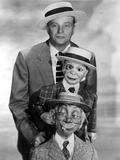 Edgar Bergen Posed in Tuxedo With Two Puppets