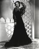 Loretta Young Black Long Dress and Screen Sleeves