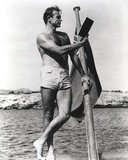 Sean Connery Posed on Raft in Black and White