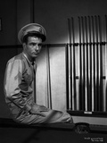 Montgomery Clift Seated in Billiard Table