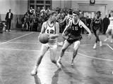 Blue Denim Basket Ball Scene in Black and White