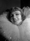 Claudette Colbert in White with Black Background