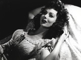 Loretta Young Lying in Bed Lady Curly Hair