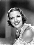 Eleanor Powell smiling in Black and White