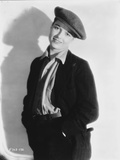 Louise Brooks Posed in Black Suit with Cap