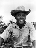 Sidney Poitier Posed in White Shirt With Hat