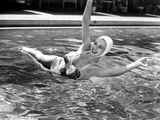 Carole Landis on Printed Swimsuit and Diving