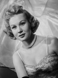 Virginia Mayo Posed in Dress and Pearl Necklace