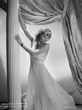 Barbara Stanwyck Leaning in Long White Gown
