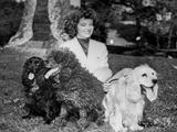 Katharine Hepburn in White Dress with Dog